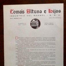 Catálogos publicitarios: PUBLICIDAD INDUSTRIA DEL MARMOL. SAN SEBASTIAN. AÑOS 40. ENVIO INCLUIDO.. Lote 207301845