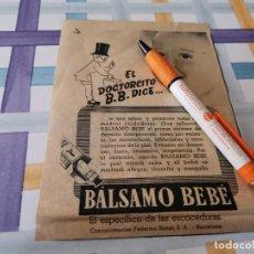 Catálogos publicitários: BÁLSAMO BEBÉ ANTIGUO ANUNCIO PUBLICIDAD REVISTA. Lote 208146006