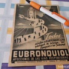 Catálogos publicitários: EUBRONQUIOL AFECCIONES DE LAS VÍAS RESPIRATORIAS ANTIGUO ANUNCIO PUBLICIDAD REVISTA. Lote 208146245