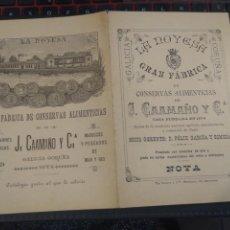 Catálogos publicitarios: ANTIGUO Y RARO CATÁLOGO CONSERVAS ALIMENTICIAS, PESCADOS, CARNES ETC J. CAAMAÑO Y CÍA. NOYA CORUÑA.. Lote 209353847