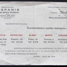 Catálogos publicitarios: ANTIGUAS TARIFAS DE PRECIOS TRANSPORTES HISPANIA – JULIO DE 1959. Lote 209610765