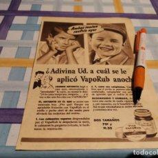 Catálogos publicitários: VICK VAPORUB DESPEJA NARIZ Y GARGANTA ANUNCIO PUBLICIDAD REVISTA 1946. Lote 209620715