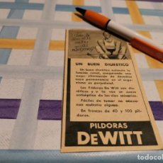 Catálogos publicitários: PÍLDORAS DEWITT DIURÉTICO REVERSO TERMÓMETRO CLÍNICO SIMPLEX ANUNCIO PUBLICIDAD REVISTA 1946. Lote 209624203