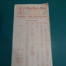 Catálogos publicitarios: VALENCIA TARIFAS ORECIOS SABANA TYRIS J.MICO DUET E HIJOS. Lote 210549983