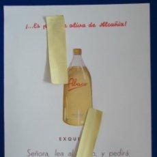 Catálogos publicitarios: PUBLICIDAD ACEITE OLIVA ABACO ALCAÑIZ TERUEL ARAGON ZARAGOZA 1955 HOGAR COMIDA COCINA ACEITUNA. Lote 210550428