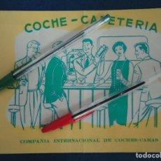 Catálogos publicitarios: PUBLICIDAD COCHE CAMA CAFETERIA TREN FERROVIARIA LOCOMOTORA FERROCARRIL RENFE VIA VIAJERO TURISMO. Lote 210550730