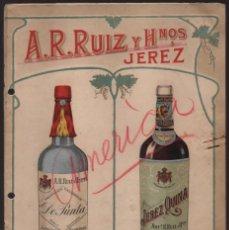 Catálogos publicitarios: JEREZ -CADIZ- A.R. RUIZ Y HNOS- .- CATALOGO PRECIOS CORRIENTES- AÑO.. 8 PAG. .VER FOTOS. Lote 212061352