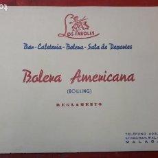 Catálogos publicitarios: CATÁLOGO BOLERA EN CALLE STRACHAN, LOS FAROLES, MÁLAGA.. Lote 213064267