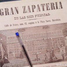 Catálogos publicitarios: CATÁLOGO DE GRAN ZAPATERÍA DE LAS SEIS PUERTAS. 1868. CALLE BOTERS. BARCELONA.. Lote 213102562