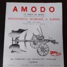 Catálogos publicitários: PAPEL PUBLICIDAD MONOSURCO LABOR AGRÍCOLA AMODO. Lote 213459873