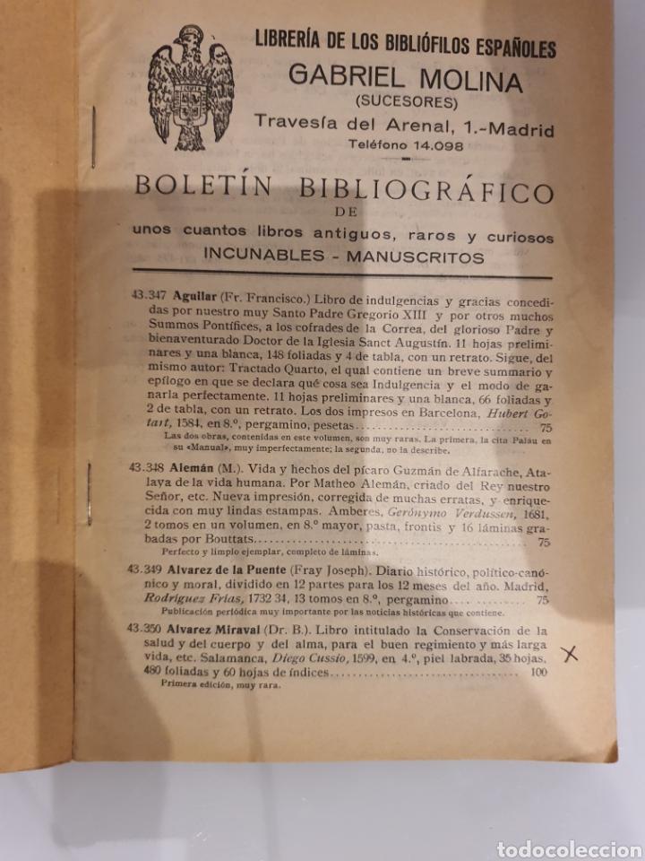 Catálogos publicitarios: LIBRERIA DE LOS BIBLIÓFILOS ESPAÑOLES -GABRIEL MOLINA- - Foto 3 - 215682377