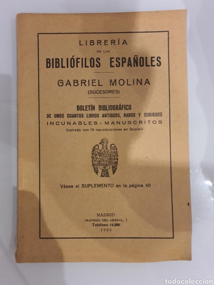 LIBRERIA DE LOS BIBLIÓFILOS ESPAÑOLES -GABRIEL MOLINA- (Coleccionismo - Catálogos Publicitarios)