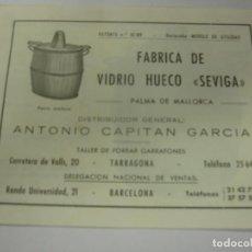 Cataloghi pubblicitari: CATALOGO PUBLICITARIO FABRICA DE VIDRIO HUECO SEVIGA. Lote 215888548