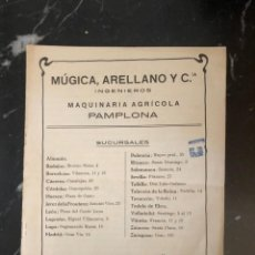 Catálogos publicitarios: CATÁLOGO MÚGICA Y ARELLANO, MAQUINARIA AGRÍCOLA, PAMPLONA. MATERIAL DE CULTIVO BACHER. Lote 215920225