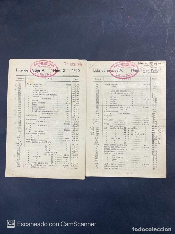 2 LISTAS DE PRECIOS DE JUGUETES. FRANCISCO DE CACERES CAMPOS. CORDOBA. AÑO 1940. VER (Coleccionismo - Catálogos Publicitarios)