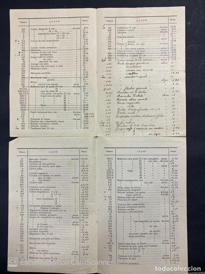 Catálogos publicitarios: 2 LISTAS DE PRECIOS DE JUGUETES. FRANCISCO DE CACERES CAMPOS. CORDOBA. AÑO 1940. VER - Foto 2 - 215986041