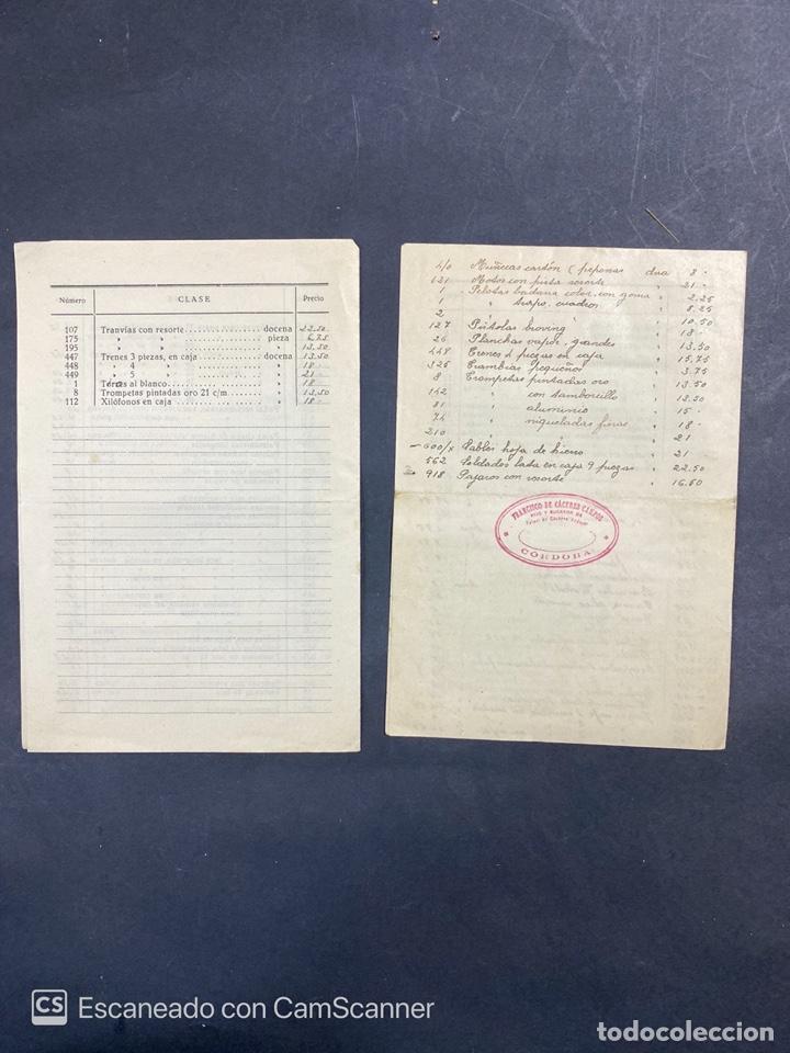 Catálogos publicitarios: 2 LISTAS DE PRECIOS DE JUGUETES. FRANCISCO DE CACERES CAMPOS. CORDOBA. AÑO 1940. VER - Foto 3 - 215986041