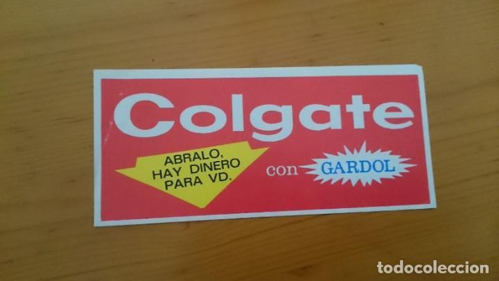 PUBLICIDAD COLGATE CON GARDOL - VALE DE 3 PESETAS - DOBLE HOJA - AÑO 1969 (Coleccionismo - Catálogos Publicitarios)