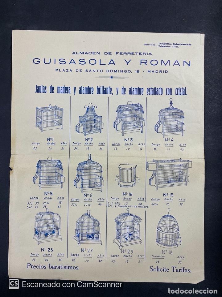 CATALOGO PUBLICITARIO. ALMACEN DE FERRETERIA GUISASOLA Y ROMAN. JAULAS DE MADERA, ALAMBRES. VER (Coleccionismo - Catálogos Publicitarios)