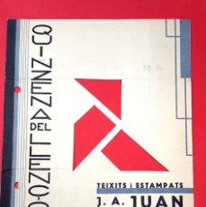Catálogos publicitarios: PUBLICIDAD - DISEÑO - 1930'S - DÍPTICO - TEIXITS I ESTAMPATS. Lote 217271077