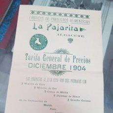 Catálogos publicitarios: ANTIGUO CATALOGO TARIFA DE PRECIOS LA PAJARITA ALBACETE 1904. Lote 217679950