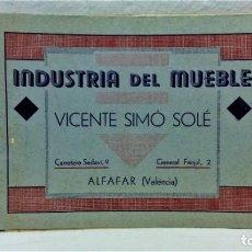 Catálogos publicitarios: ANTIGUO CATÁLOGO INDUSTRIA DEL MUEBLE.VICENTE SIMÓ SOLÉ.ALFAGAR.VALÉNCIA.IMP HISPANIA. Lote 221866096