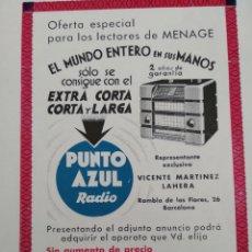 Catálogos publicitarios: PUBLICIDAD PERTENECIENTE A REVISTA AÑO 1933-1934 24CMX17CM.PUMTO AZUL. Lote 221885480