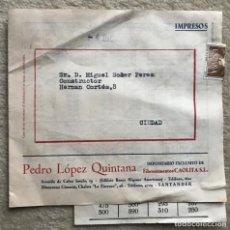 Catálogos publicitarios: CAOLITA, S.A. - FIBROCEMENTOS - SOBRE COMERCIAL CON PUBLICIDAD - DELEGADO EN SANTANDER - AÑOS 50. Lote 222153552
