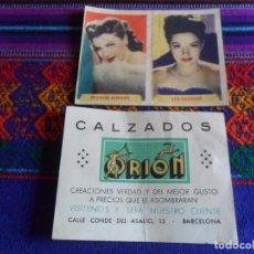 Catálogos publicitarios: CALZADOS ORION 4 CROMO PUBLICITARIO ÚLTIMAS FOTOGRAFÍAS DE LAS MÁS FAMOSAS ESTRELLAS ÁLBUM 3º. RAROS. Lote 222301333