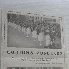 Catálogos publicitarios: ANTIGUO RECORTE.CONSTUMS POPULARS.BALL DE GITANES.SANT CELONI.BARCELONA 1921. Lote 222396721