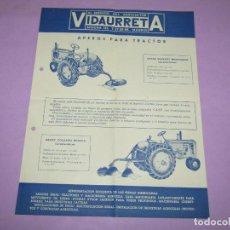 Catálogos publicitarios: ANTIGUO FOLLETO CATÁLOGO DE APEROS PARA TRACTOR VIDAURRETA EN MADRID - AÑO 1950-60S.. Lote 222813658