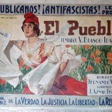 Catálogos publicitarios: CARTEL PUBLICIDAD EL PUEBLO LITOGRAFIA ILUSTRADOR JOAQUIN SOROLLA DEDICADO A BLASCO IBAÑEZ ORIGINAL. Lote 225022630