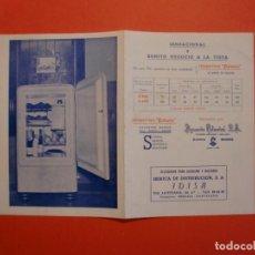 Catálogos publicitarios: FRIGORIFICOS IGNACIO PALACIOS S.A. BURGOS DELEG. CATALUÑA BALEARES IDISA AÑOS 40. Lote 229721930