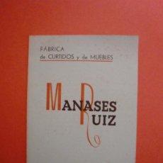 Catalogues publicitaires: FABRICA CURTIDOS Y MUEBLES MANASES RUIZ CARRERA BUTACAS PARA ESPECTACULOS SORIA TELF. 220. Lote 230240640