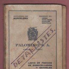 Catálogos publicitarios: CATÁLOGO PALOMINO S.A. VINOS Y COÑAC - SUCURSAL D BARCELONA - AGENTE EN MARTORELLAS. Lote 230427115