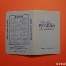 Catálogos publicitarios: VINOS Y COÑAC PICARDO PUERTO DE SANTA MARIA TARJETA DE FUMADOR CALENDARIO 1945 JUAN PAMIES Y Cª. Lote 230618165