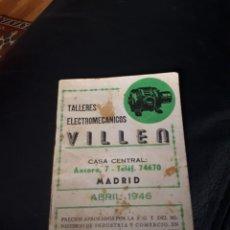 Catalogues publicitaires: TARIFA TALLERES ELECTROMECANICOS VILLEN. MADRID 1946. Lote 230711595