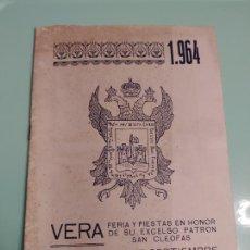 Catálogos publicitários: JML VERA FERIAS Y FIESTAS EN HONOR DE SU EXCELSO PATRON SAN CLEOFAS 23 AL 27 SEPTIEMBRE 1964 ALMERIA. Lote 233201415