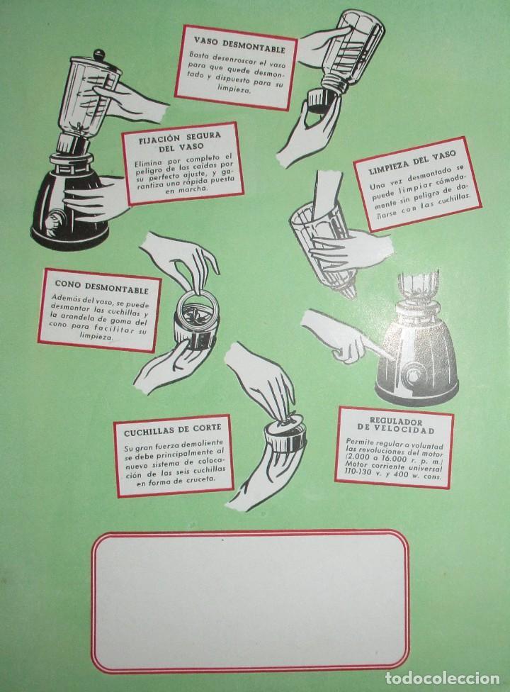 Catálogos publicitarios: BATIDORAS Y COCTELERA HISPANO-SUIZA. SEIS FOLLETOS Y RECETARIOS ORIGINALES DE LOS AÑOS 50. - Foto 8 - 234727150