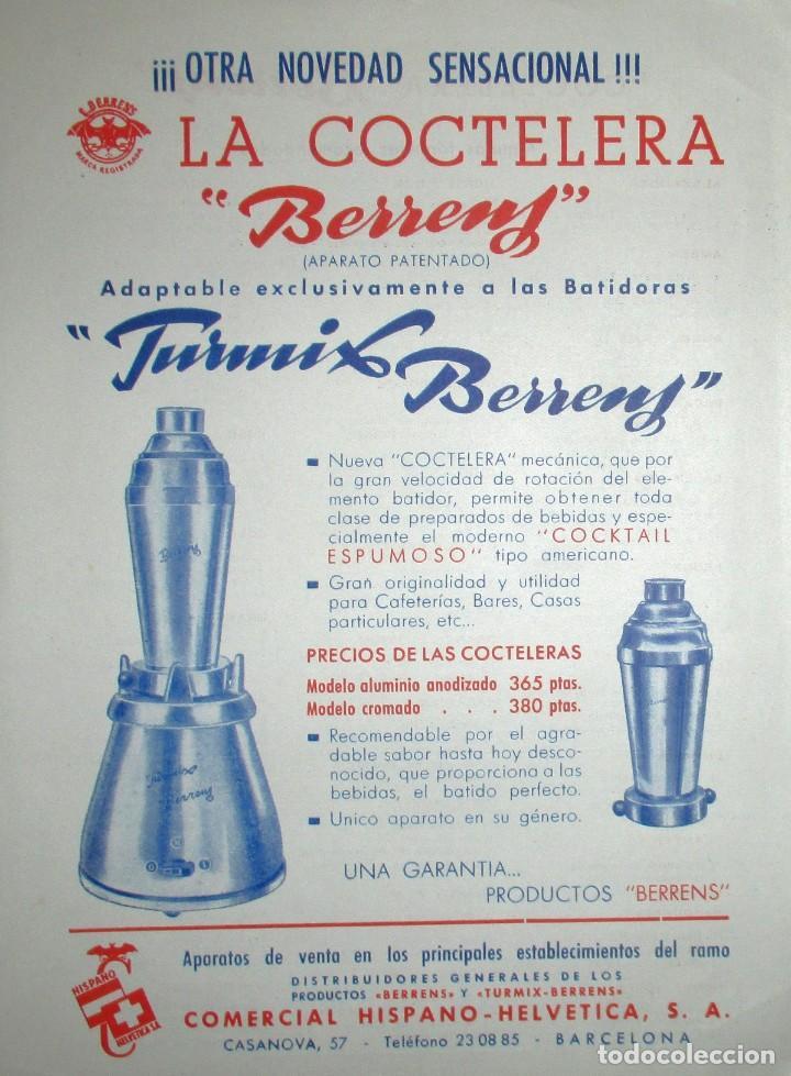 Catálogos publicitarios: BATIDORAS Y COCTELERA HISPANO-SUIZA. SEIS FOLLETOS Y RECETARIOS ORIGINALES DE LOS AÑOS 50. - Foto 9 - 234727150
