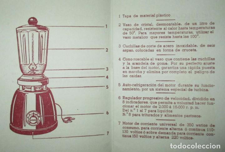 Catálogos publicitarios: BATIDORAS Y COCTELERA HISPANO-SUIZA. SEIS FOLLETOS Y RECETARIOS ORIGINALES DE LOS AÑOS 50. - Foto 20 - 234727150