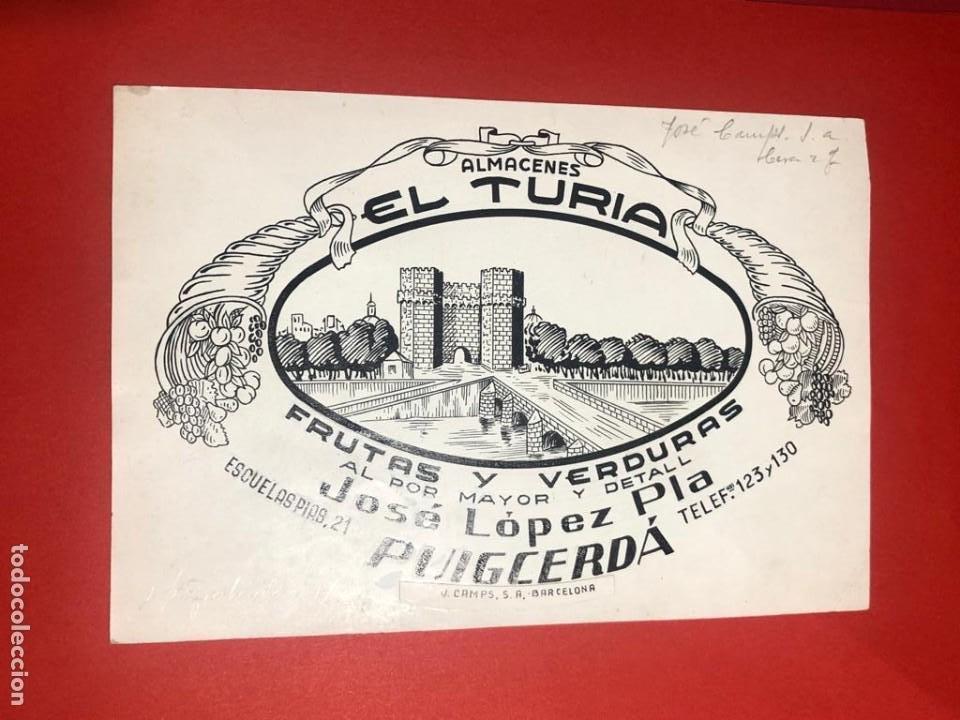 DIBUJO ORIGINAL PARA PUBLICIDAD. ALMACENES EL TURIA. FRUTAS Y VERDURAS. (PUIGCERDÀ, GIRONA) (Coleccionismo - Catálogos Publicitarios)