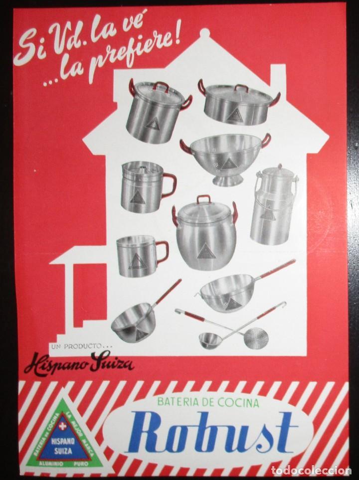 Catálogos publicitarios: HISPANO-SUIZA. DOS HOJAS PUBLICITARIAS DE BATERÍAS DE COCINA ORIGINALES DE 1954. - Foto 2 - 235180265