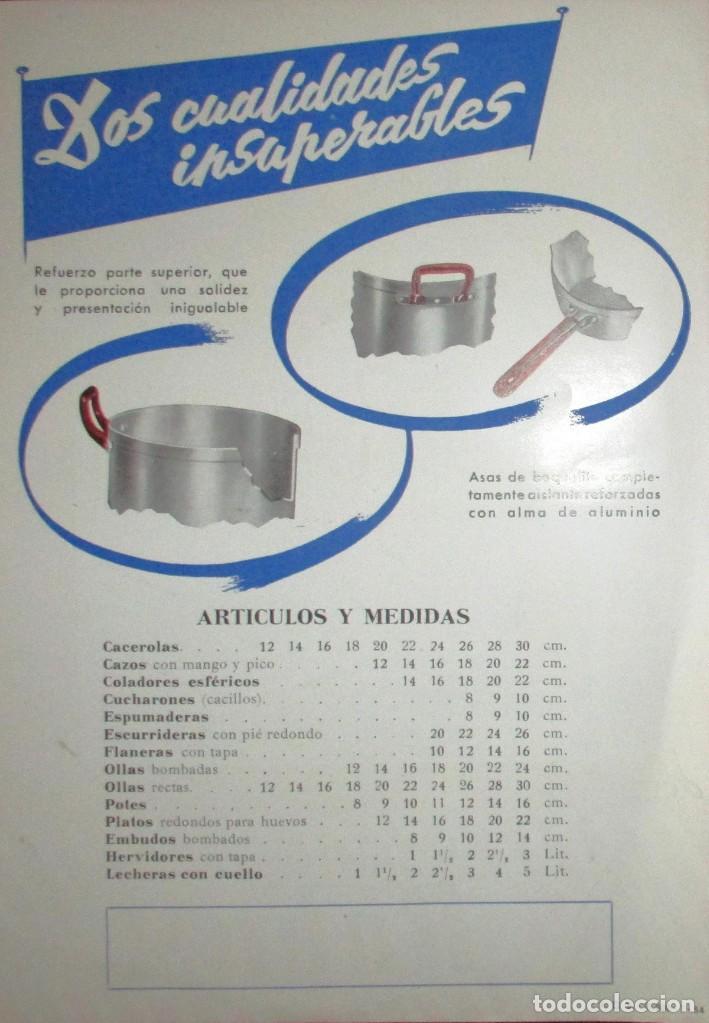 Catálogos publicitarios: HISPANO-SUIZA. DOS HOJAS PUBLICITARIAS DE BATERÍAS DE COCINA ORIGINALES DE 1954. - Foto 3 - 235180265