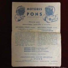 Catalogues publicitaires: MOTORES PONS, PUBLICIDAD AÑO 1961. Lote 236319585