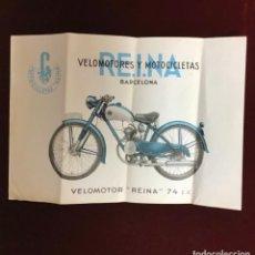 Catalogues publicitaires: RE.I.NA VELOMOTORES Y MOTOCICLETAS, ANTIGUA PUBLICIDAD. Lote 236328295