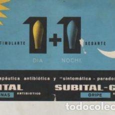 Catálogos publicitarios: CARTÓN PUBLICITARIO FARMACIA - SUBITAL - GRIP ANTIBIOTICO DE LABORATORIOS FERRER D BARCELONA. Lote 236885110
