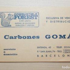 Catálogos publicitarios: CARBONES GOMÁ, TARJETA PUBLICITARIA, 13,50X8 CM. Lote 236980970