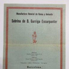 Catálogos publicitarios: LISTA DE PRECIO DE JUGUETERIA. GARRIGA ESCARPANTER. BARCELONA.. Lote 240160625