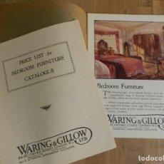 Catálogos publicitarios: ANTIGUO CATÁLOGO DISEÑO MUEBLES WARING & GILLOW LTD CIRCA 1900 ORIGINAL MUEBLE EBANISTERÍA MADERA. Lote 241195600
